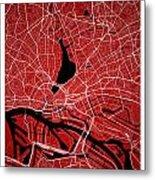 Hamburg Street Map - Hamburg Germany Road Map Art On Colored Bac Metal Print