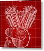 Harley Davidson Engine Patent 1919 - Red Metal Print