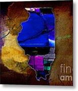 Illinois Map Watercolor Metal Print