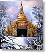 Interpretive Illustration Of Shwedagon Pagoda Metal Print by Melodye Whitaker