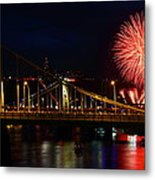 July 4th Fireworks In Pittsburgh Metal Print by Jetson Nguyen