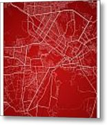Kabul Street Map - Kabul Afghanistan Road Map Art On Colored Bac Metal Print