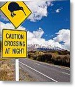 Kiwi Crossing Road Sign And Volcano Ruapehu Nz Metal Print
