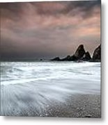 Landscape Seascape Of Jagged And Rugged Rocks On Coastline With  Metal Print