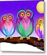 3 Little Owls In The Moonlight Metal Print