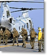 Marines Board A Ch-46e Sea Knight Metal Print