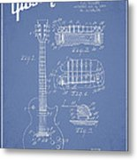 Mccarty Gibson Les Paul Guitar Patent Drawing From 1955 - Light Blue Metal Print