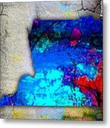 Memphis Map And Skyline Watercolor Metal Print