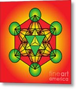 Metatron's Cube With Merkaba Metal Print