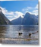 Milford Sound And Mitre Peak In Fjordland Np Nz Metal Print
