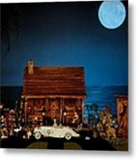Miniature Log Cabin Scene With The Classic 1936 Mercedes Benz Special Roadster In Color Metal Print
