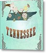 Modern Vintage Tennessee State Map  Metal Print