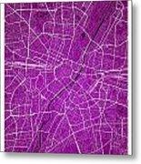 Munich Street Map - Munich Germany Road Map Art On Colored Backg Metal Print