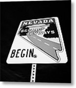 Nevada Scenic Byways Begin Signpost On The White Domes Road Valley Of Fire State Park Nevada Usa Metal Print