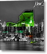 New York Map And Skyline Watercolor Metal Print
