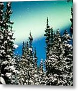 Northern Lights Aurora Borealis And Winter Forest Metal Print