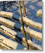 Old Swedish Wooden Fence In Winter Metal Print