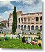 Outside Colosseum In Rome Metal Print