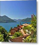 Panoramic View Over An Alpine Lake Metal Print
