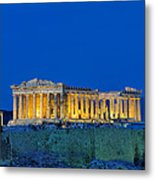 Parthenon In Acropolis Of Athens During Dusk Time Metal Print