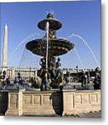 Public Fountain At The Place De La Concorde In Paris France Metal Print