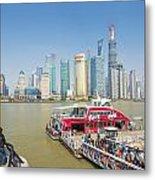 Pudong Skyline In Shanghai China Metal Print