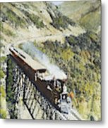 Railroad Bridge, C1870 Metal Print