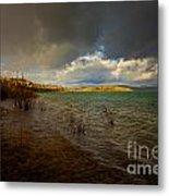 Rainbow And Dark Clouds Over Large Lake Metal Print
