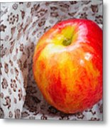 Red And Yellow Apple Metal Print