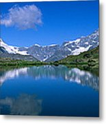 Reflection Of Mountains In Water Metal Print