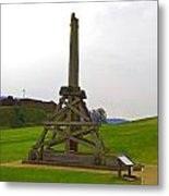 Replica Of Wooden Trebuchet And The Ruins Of The Urquhart Castle Metal Print