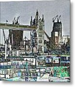 River Thames Sketch Metal Print