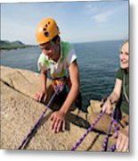 Rock Climbing On Oceanside Cliffs Metal Print