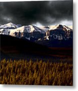 Rocky Mountains In Winter Metal Print