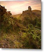 Romantic Fantasy Magical Castle Ruins Against Stunning Vibrant S Metal Print