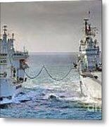 Royal Navy Aircraft Carrier Hms Ark Royal Conducts A Replenishment At Sea  Metal Print