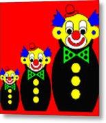 3 Russian Clown Dolls on red Metal Print
