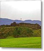 Saltire And The Ruins Of The Urquhart Castle Metal Print