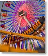 Santa Monica Pier Ferris Wheel And Roller Coaster At Dusk Metal Print