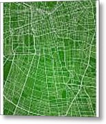 Santiago Street Map - Santiago Chile Road Map Art On Colored Bac Metal Print
