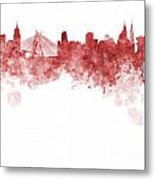 Sao Paulo Skyline In Watercolor On White Background Metal Print