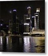 Singapore Skyline As Seen From The Pedestrian Bridge Metal Print