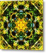 Stained Glass Sun Mandala Metal Print