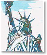 Statue Liberty - Pop Stylised Art Poster Metal Print
