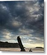 Stunning Shipwreck On Rhosilli Bay Beach Landscape At Sunset Metal Print