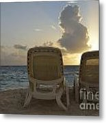 Sun Lounger On Tropical Beach Metal Print