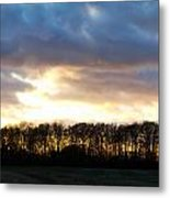 Sunset Over Trees In An English Field Metal Print