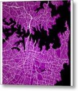 Sydney Street Map - Sydney Australia Road Map Art On Colored Bac Metal Print