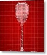 Tennis Racket Patent 1887 - Red Metal Print
