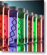 Test Tubes With Dna Metal Print